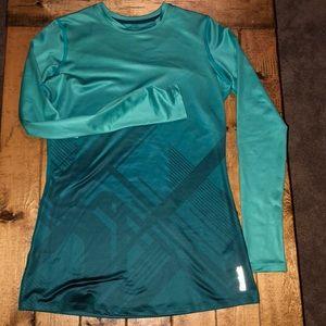 Reebok Long Sleeve Lined Athletic Top Teal Medium